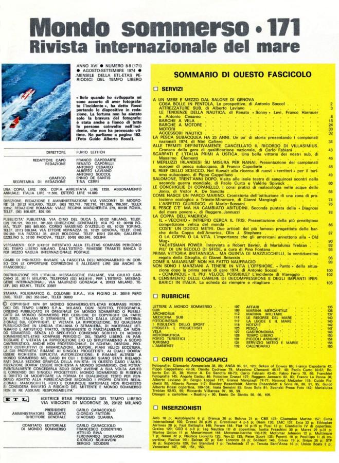 Calendario Anno 1974.Rivista Mondo Sommerso Anno 1974